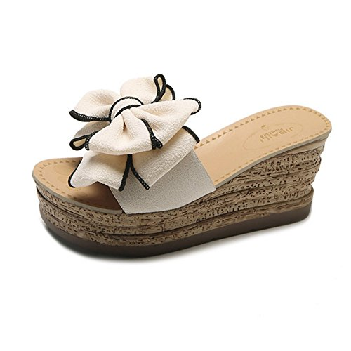 Flip With Thick Beige High Beige Summer Slippers Crust Bow Sandals And Knot Flops Sexy 37 With Heeled Slope 0BqOZnxIw
