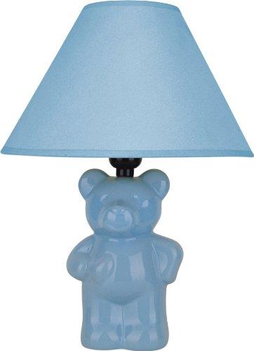 - ORE International 611BL Ceramic Teddy Bear Lamp, Light Blue