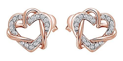Double Heart Earrings in 14k Rose Gold Over Sterling - Heart Double Earrings Gold