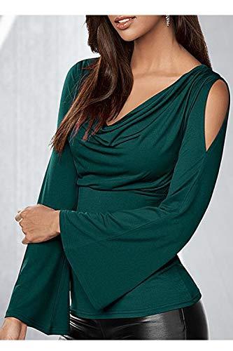 Shoulder Cold Flare Vert Femmes Cagoule Hauts Dazosue Manches Blouse Col ApEXx7qI