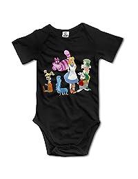 Alice In Wonderland Short Sleeve Romper Bodysuit For 6-24 Months Infant Black