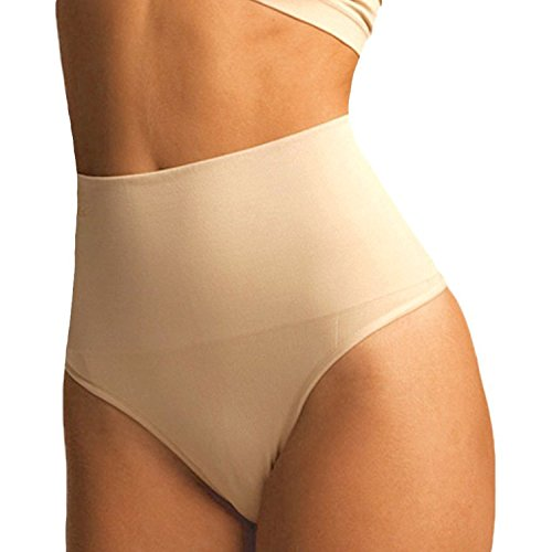 "FIRSTLIKE Women Waist Cincher Girdle Tummy Slimmer Sexy Thong Panty Shapewear Nude L(Fit Waist 27.2""-29.7"")"