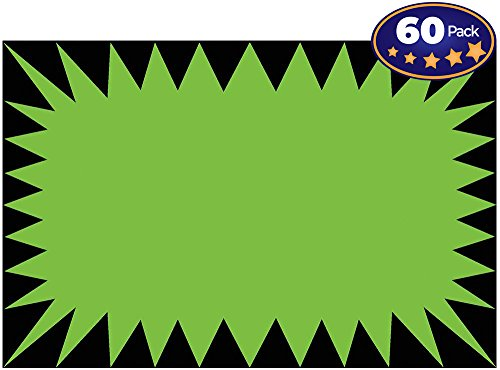 (Retail Genius Price Burst 60 Green Sign Pack. Boost Sales with Bright Display Tags. Durable, Easy to Write On Star Cards Are For Yard, Estate & Garage Sale, Fundraiser, Store, Business & Flea Market.)