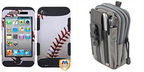 Combo pack Baseball-Sports Collection/Black TUFF Hybrid Phone Protector Cover [Military-Grade Certified] for APPLE iPod touch (4th generation) And Gray Sports Activity Waist Pack Pocket Belt (Belt Player Case Standard Mp3)