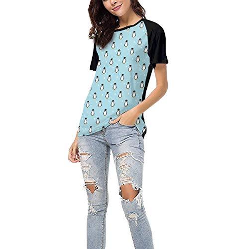 Laki-co Women's Summer Short Sleeve - Penguin Baby Casual Raglan Tee Baseball Tshirts Tops Blouse XXL Black