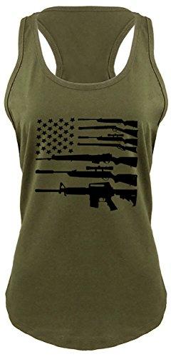 Ladies Racerback Tank Gun American Flag Shirt Patriotic USA Pride Tee Military Green with Black Print S