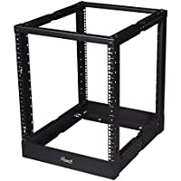 Rosewill 12U Adjustable Depth Open Frame 4 Post Server Rack Cabinet with Cable Management Hooks - Black (RSR-4P12U001)