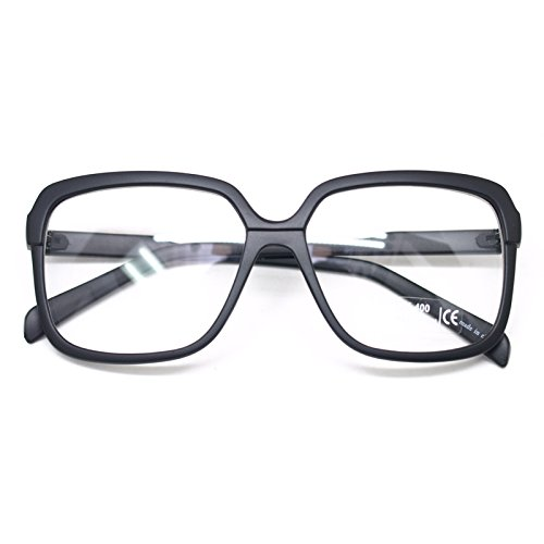 Big Square Horn Rim Eyeglasses Nerd Spectacles Clear Lens Classic Geek Glasses (Matt black9058, - Black Frames Eyeglass Square