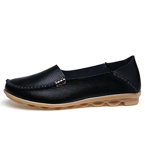 Goeao Womens Leather Loafers Cowhide Lace Up Casual Moccasin Driving Shoes Flat Indoor Slip-On Slippers Black Metal B9cBc4rHJ