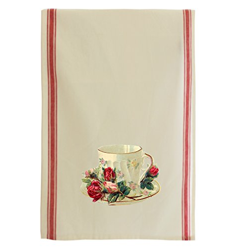 Teacup Roses Vintage Look Cotton Retro Stripe Dish Kitchen Towel Red (Rose Bread Basket Set)