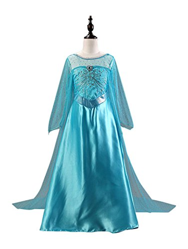 FE8 Girl Elsa Snow Queen Dress Frozen Inspired Halloween Kids Costume 4-14 USA