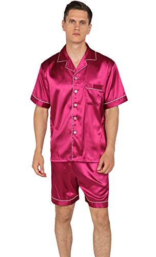 (YIMANIE Mens Silk Satin Pajamas Set Short Sleeve and Shorts Classic Sleepwear Loungewear Wine Red)