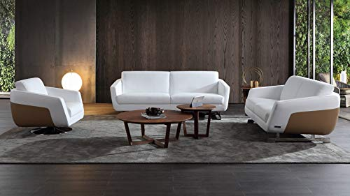 Zuri Furniture Modern Armondo Sofa Set with Loveseat and Chair in Two Tone White Microfiber Leather and Camel - Set Tone Two Sofa