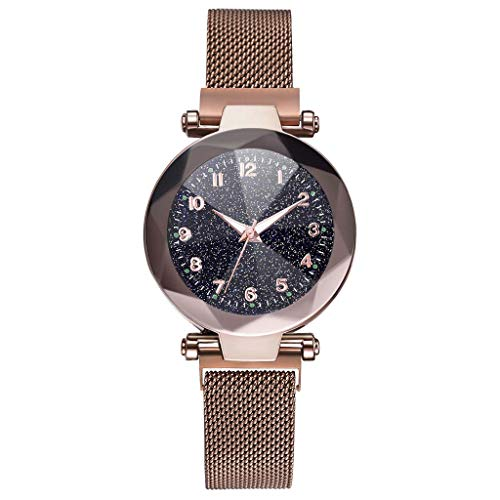 Fashion Ladies Watch Starry Sky Magnetic Mesh Band Buckle Dial Diamond Cutting Wristwatch Quartz Wrist Watch for ()