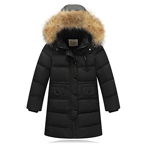 (Seeduck Big Girls' Winter Parka Down Coat Puffer Jacket Padded Overcoat with Fur Hood (7T=130CM=51.2 Inch, Dark Black))
