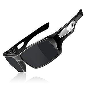 RockBros Sports Polarized Sunglasses with UV Protection Full Frame Goggles Black Silver