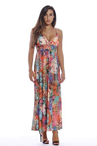 Bra In Dress Built (8858-73-L Just Love Maxi Dresses for Women  Summer Dresses, Multi Color Python, Large,Multi Color Python,Large)