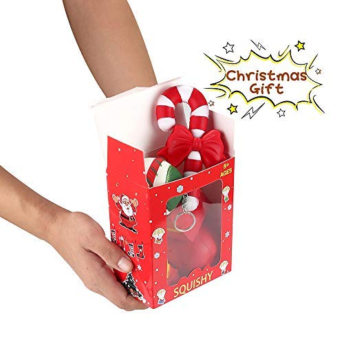 Christmas Squishies Pack Toddler Toy - CREFUN (2018 Limited Edition) Gifts for Christmas Tree Ornament, Kid Toy, Stress Relief, Including 5 Pcs: Candy Cane Bell Gift Bag Apple Snowman Ball, Super Slow