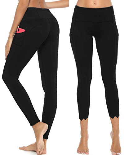 GRAT.UNIC Sport Leggings Damen,Yoga Sporthose,Fitnesshose mit Taschen,Yogahosen,Damen Leggings,Schwarz Stretch Workout Fitness Jogginghose
