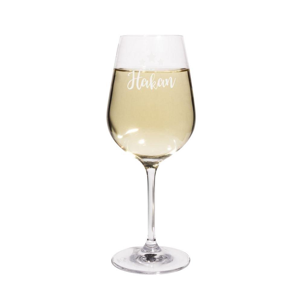 Design Sterne PrintPlanet® Weißweinglas mit Namen Hakan graviert Leonardo® Weinglas mit Gravur