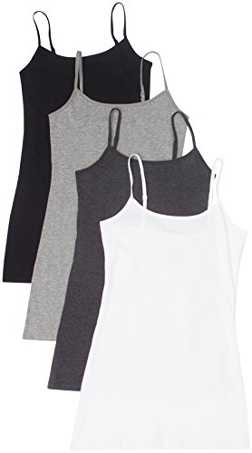 4 Pack Active Basic Women's Basic Tank Tops,Large,White/Charcoal/Black/H Gray