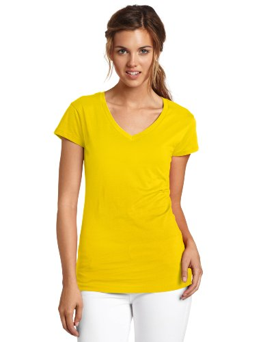 Dickies Girl Juniors Short Sleeve V-Neck Tee,Sunflower,Xlarge