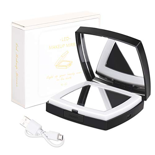 LED lighted Compact Mirror, 10XMagnifying Makeup Mirror, Dimmable Light,...