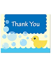 50 Cnt Yellow Duck Blue Bubbles Baby Shower Thank You Cards BOBEBE Online Baby Store From New York to Miami and Los Angeles