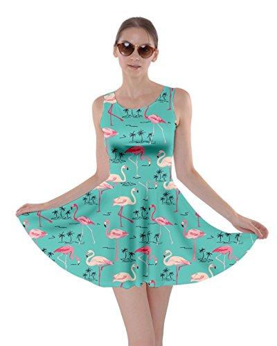 Feather Womens Flamingo CowCow Beach XS 5XL Hot Birds Flamingo Dress Aqua Poolside Summer Tropical Skater Partydress qtwddpxUA5