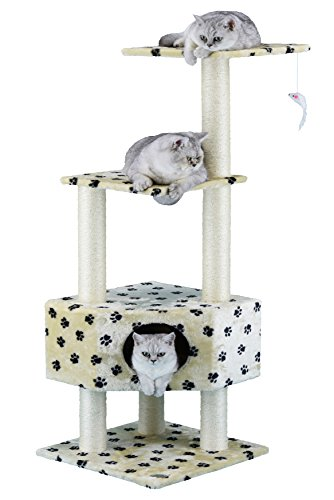 (Go Pet Club Cat Tree Condo House Furniture, 51-Inch, Paw Print)