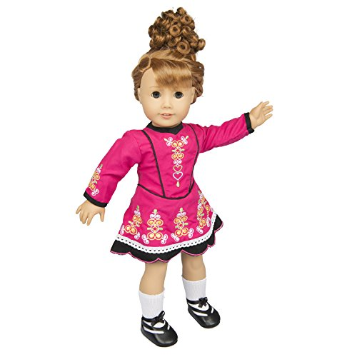 Irish Step Dancing Doll Clothes for 18 Dolls (Includes Dress, Brunette Hair, Gillies, and Leggings)