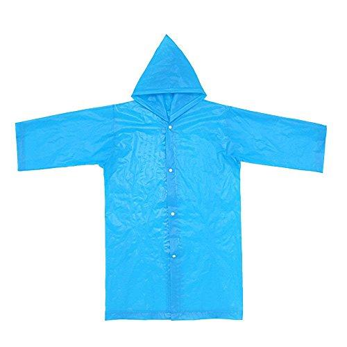 Koolsants New Portable Reusable Children Raincoats Thicker EVA Rain Coat for 6-12 Years Old Kids, Suitable Height Range:110-145 cm/ 3.6-4.7 Feet, Blue
