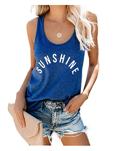 Anbech Sunshine Tank Tops Funny Letters Print Summer Beach Casual Vest Sleeveless Muscle Tees Size L (Blue)