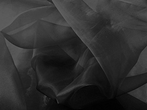(Black Crystal Organza Fabric 58