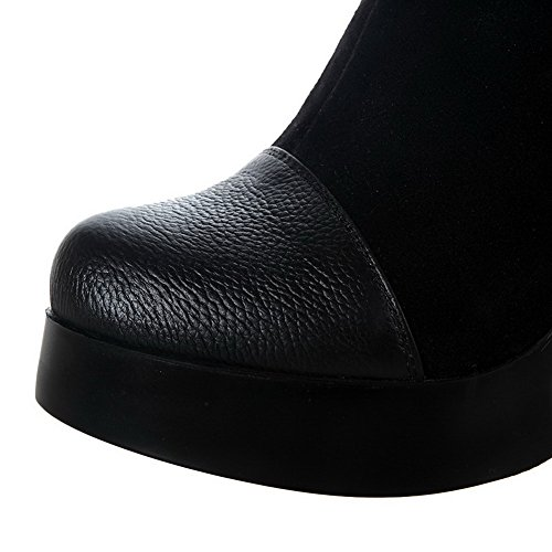 Allhqfashion Women's Blend Materials Soft Material High-Heels Boots with Glass Diamond and Slipping Sole Black 0VSPxL9Z
