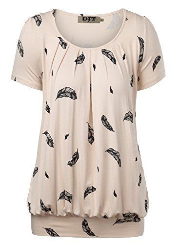 DJT Women's Scoop Neck Short Sleeve Front Pleated Tunic Medium Apricot Floral ()