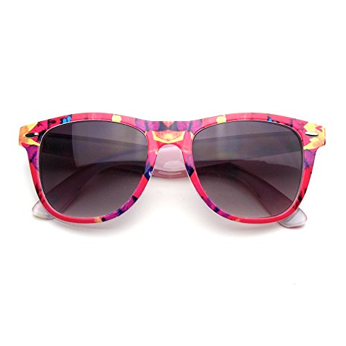 Retro Indie Fun Pattern Color Assorted Print Sunglasses (Red Flower)