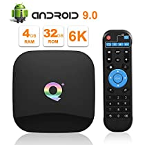 Android tv Box, TUREWELL Q Plus Android 9.0 tv Box chip H6 Quad-core cortex-A53 4GB RAM 32 GB ROM Smart tv Box Support 3D 6k Ultra HD H.265 2.4GHz WiFi Ethernet HDMI Output [2019 Newest]