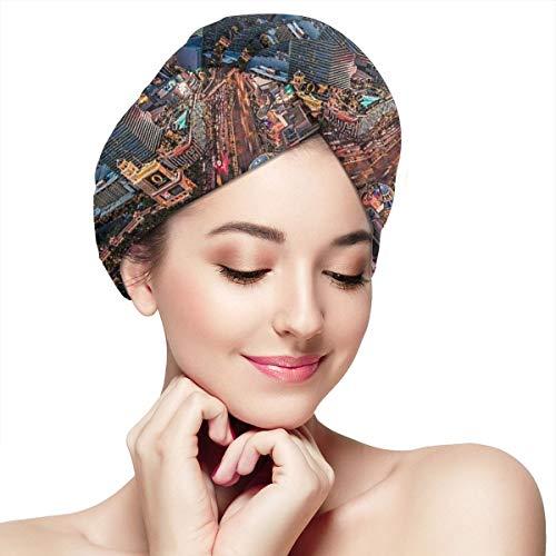DemarLOO Microfiber Dry Hair Cap For Bath Spa Soft Towel,Super Absorbent Quick Drying Towel Wrap,Turbans For Wet Hair- Las Vegas USA