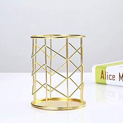 XinKu in ferro dorato dorato Portapenne da scrivania in stile nordico