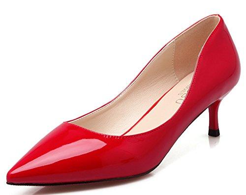 Idifu Donna Dressy Chiuso Scarpe A Punta Slip On Mid Stiletto Kitten Pumps Rosso