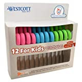 "Westcott 5"" Anti-Microbial Kids Scissors Pointed, Assorted Colors, 12pk"