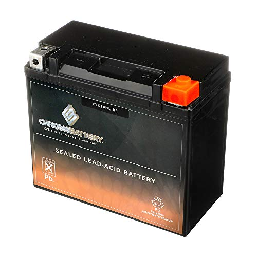 Chrome Battery YTX20HL-BS - High Performance, Rechargeable, Replacement Power Sports Battery for Harley Davidsons