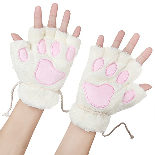 Odema Womens Bear Plush Cat Paw Claw Glove Soft Winter Fingerless Mitten Gloves -