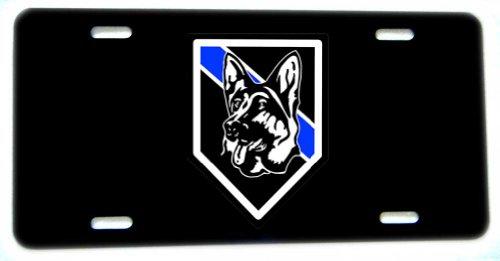 K9 License Plate - 12 Inch X 6 Inch Vanity Novelty Law Enforcement (Police, Sheriff) Aluminum License Plate- German Shepherd Dog Thin Blue Line K9