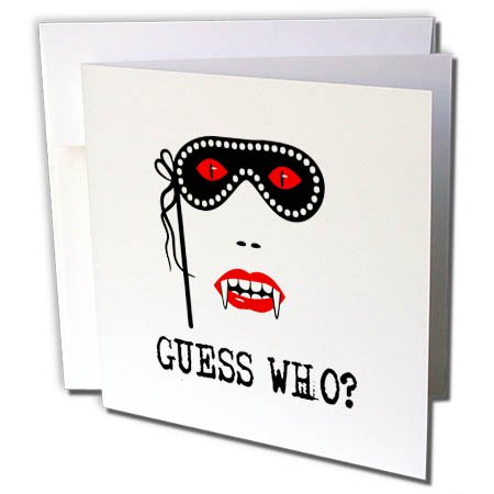 3dRose Alexis Design - Holidays Halloween - Halloween Vampire Woman. Carnival mask. Guess Who - 1 Greeting Card with envelope (gc_267204_5)