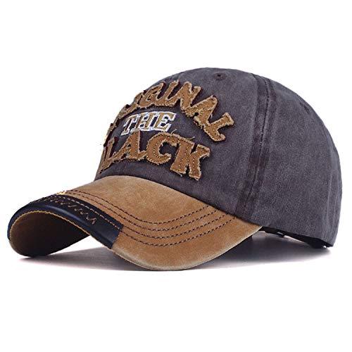 野球帽 男性女性 カジュアルカセットのキャップの文字 刺繍 黒いキャップ,黄色のコーヒー,