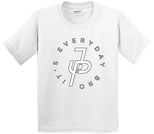 White T-shirt Bro (New Way 828 - Youth T-Shirt It's Everyday Bro Jake Paul JP Logo Small White)