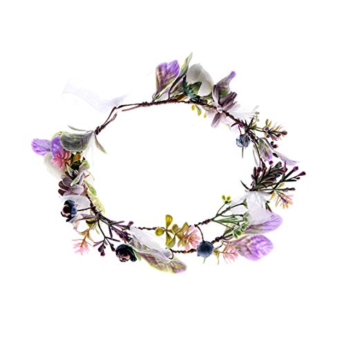 Floral Fall Wedding Bridal Succulent Flower Crown Green Leaf Eucalyptus Halo Maternity Photo Props NS03 (Lavender) ()