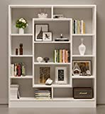 Bookcase Venus - Room Divider - Free Standing Shelving Unit for living room or office in a modern design (White)